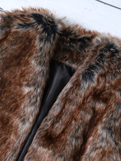 Faux Fur Open Front Waistcoat - TAUPE S Mobile