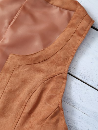 Cropped Waistcoat - BROWN 2XL Mobile