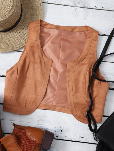 Cropped Waistcoat - BROWN M Mobile