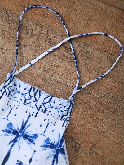 Printed Cross Criss Bikini Set - WHITE L Mobile