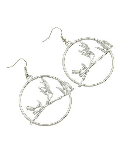 Circle Bird Earrings - SILVER  Mobile