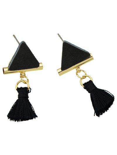 Tassel Triangle Earrings - BLACK  Mobile
