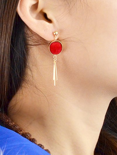Ball Circle Bar Earrings - RED  Mobile