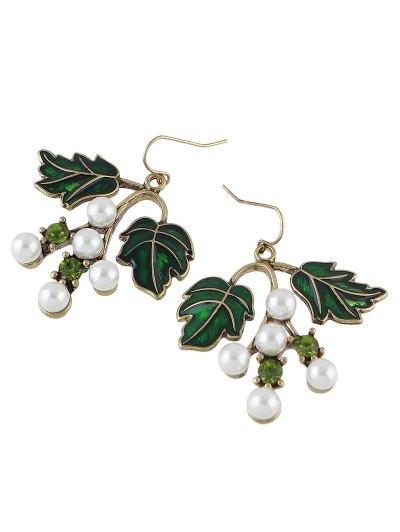 Faux Pearl Rhinestone Tree Leaves Earrings - GREEN  Mobile