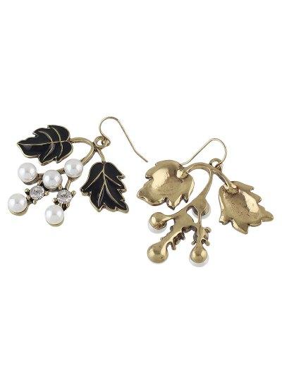 Faux Pearl Rhinestone Tree Leaves Earrings - BLACK  Mobile
