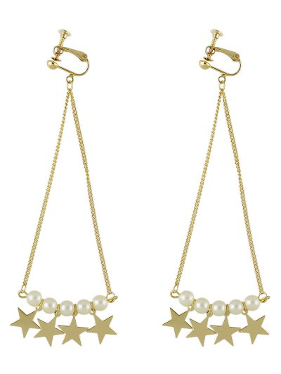 Faux Pearl Star Drop Earrings - GOLDEN  Mobile
