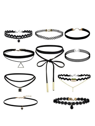 Geometric Flower Bar Choker Necklace Set - BLACK  Mobile
