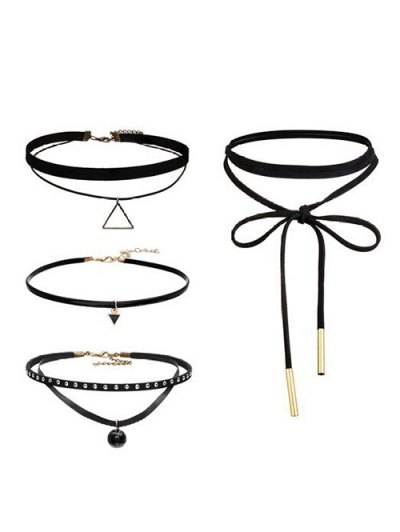 Geometric Vintage Choker Necklace Set - BLACK  Mobile