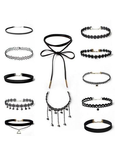 Floral Star Geometric Choker Necklace Set - BLACK  Mobile