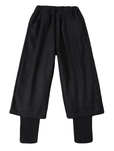 Elastic Waist Layered Wide Leg Pants - BLACK L Mobile