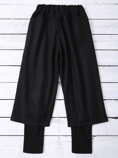 Elastic Waist Layered Wide Leg Pants - BLACK M Mobile