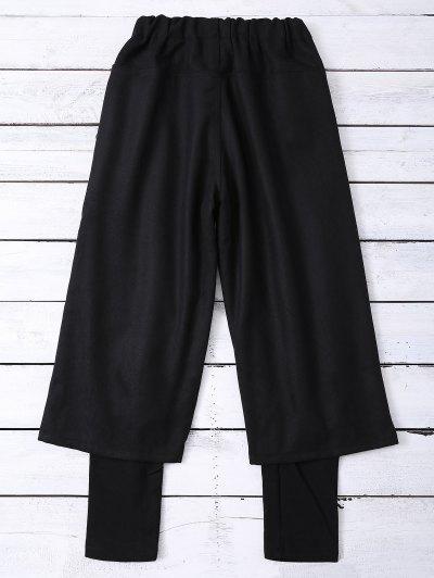 Elastic Waist Layered Wide Leg Pants - BLACK S Mobile