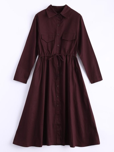 Long Sleeve Drawstring Shirt Dress - WINE RED ONE SIZE Mobile