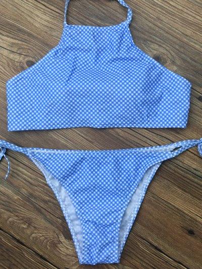 Side Tie Halter Plaid Bikini Set - BLUE L Mobile