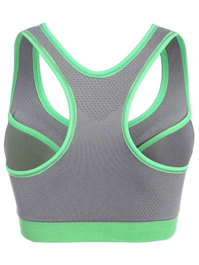Front Zip Mid Impact Sports Bra - GRAY L Mobile