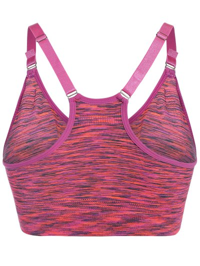 Longline Heathered Pullover Sports Bra - ROSE L Mobile