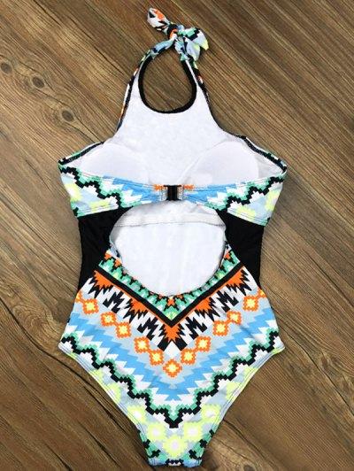 Cut Out Geometric One-Piece Swimwear - LIGHT BLUE XL Mobile