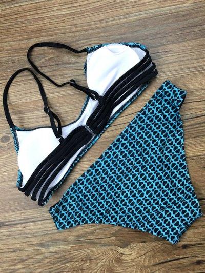 Cutout Printed Strappy Bikini Set - GREEN L Mobile