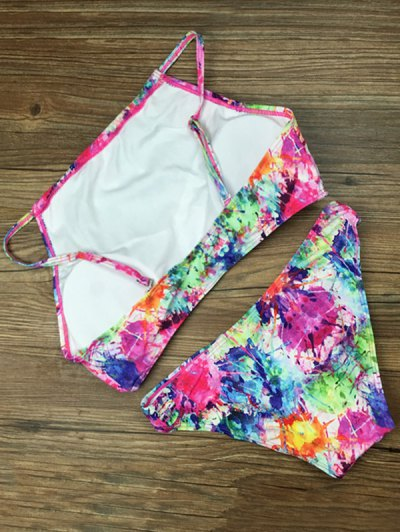 Cropped Abstract Print Bikini Set - ROSE RED S Mobile