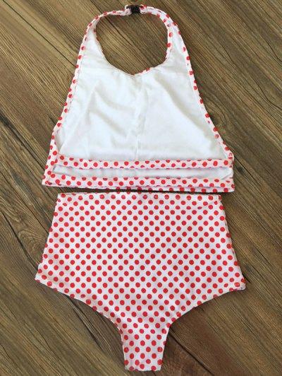 High Waisted Polka Dot Vintage Bikini - RED XL Mobile