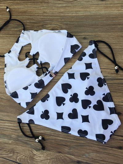 Printed String Lace-Up Bikini Set - WHITE AND BLACK M Mobile