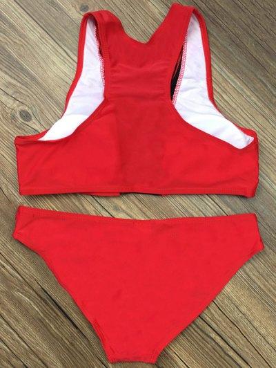 Color Block Mesh Panel Bikini Set - RED L Mobile