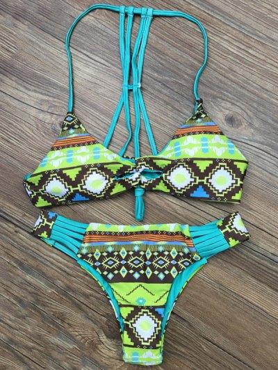 Patterned Padded Stringy Bikini - LIGHT GREEN S Mobile