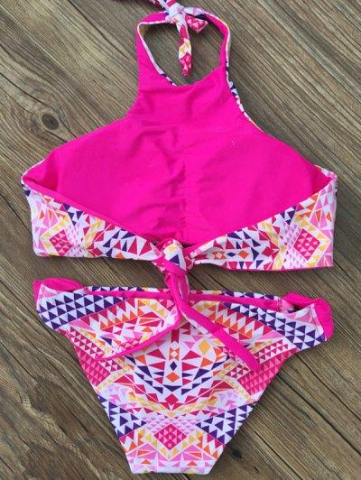High Neck Geometric Patterned Bikini - TUTTI FRUTTI M Mobile