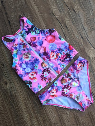 Floral Zippered Swimsuit - FLORAL S Mobile