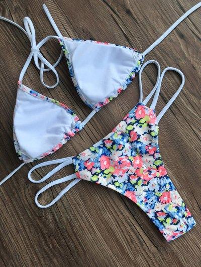 Halter Tiny Floral Swimsuit - FLORAL L Mobile