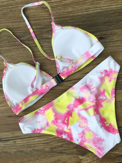 Plunging Neck Tie Dye Bikini Set - YELLOW S Mobile