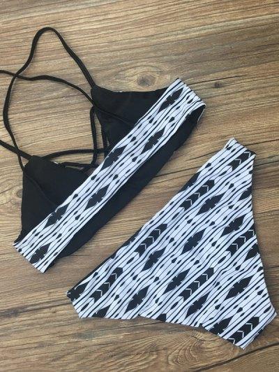 Criss Cross Geometric Print Bikini Set - GEOMETRIC PRINT S Mobile