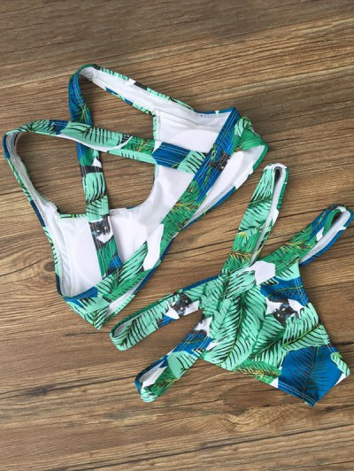Banded  Leaf Printed Bikini Set - GREEN L Mobile