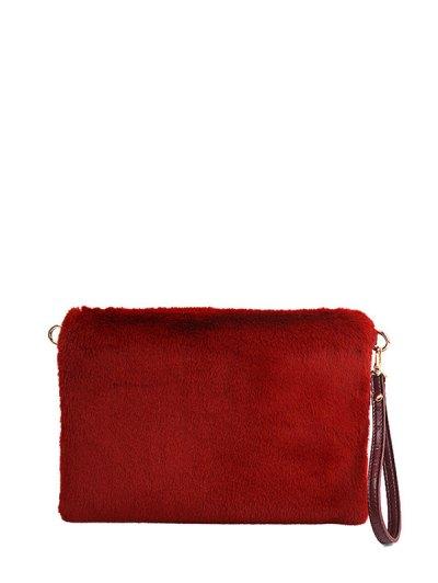 Faux Fur Embossed Panel Clutch Bag - CLARET  Mobile