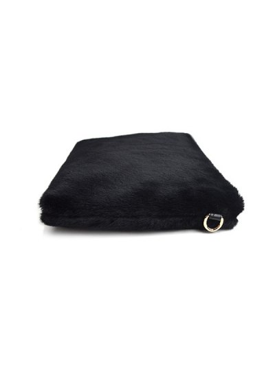 Faux Fur Embossed Panel Clutch Bag - BLACK  Mobile