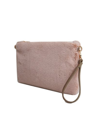 Faux Fur Embossed Panel Clutch Bag - PINK  Mobile
