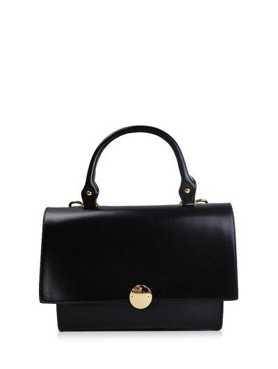 Faux Leather Flapped Handbag - BLACK  Mobile