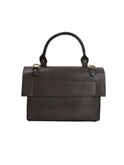Faux Leather Flapped Handbag - GRAY  Mobile