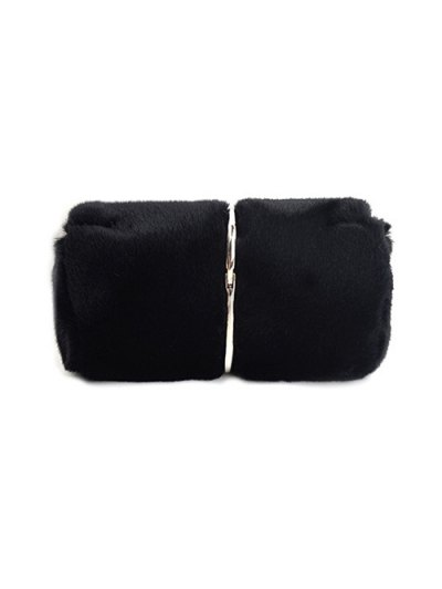 Flapped Faux Fur Clutch Bag - BLACK  Mobile