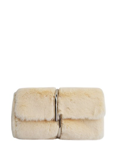 Flapped Faux Fur Clutch Bag - BEIGE  Mobile