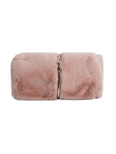 Flapped Faux Fur Clutch Bag - PINK  Mobile