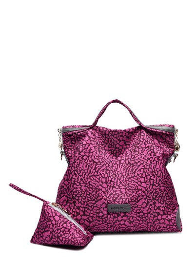Printed Handbag With Coin Purse - ROSE RED  Mobile