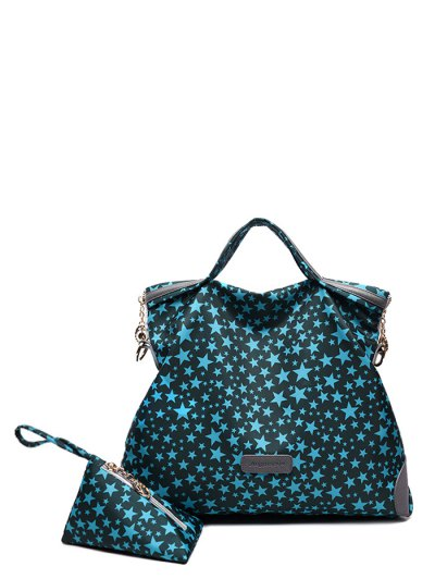 Printed Handbag With Coin Purse - BLUE  Mobile