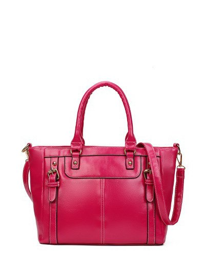 Buckles Embellished PU Leather Handbag - ROSE RED  Mobile
