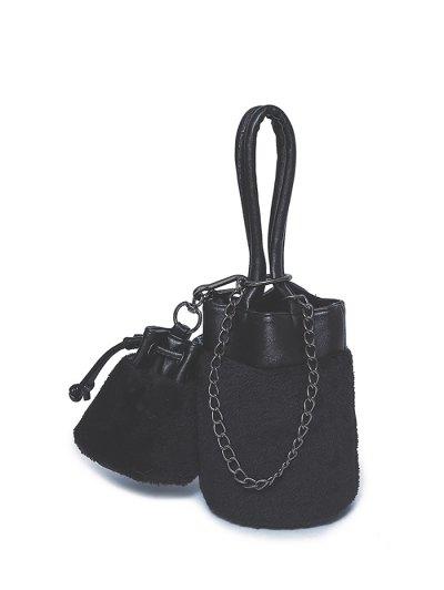 Chains Plush Panel Bucket Bag - BLACK  Mobile