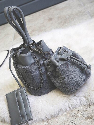 Chains Plush Panel Bucket Bag - GRAY  Mobile
