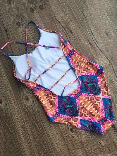 Printed Criss-Cross Swimwear - COLORMIX M Mobile