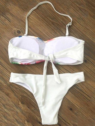 Bandeau Floral Bikini - WHITE M Mobile