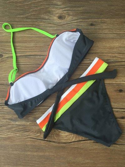 Chevron Stripe Bandeau Banded Bikini - MULTICOLOR S Mobile