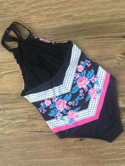 Polka Dot Floral Halter One Piece Swimsuit - BLACK L Mobile